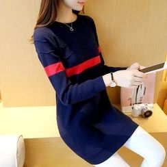 Cotton Candy - Long-Sleeve Color Block Knit Dress