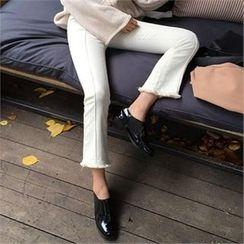 QNIGIRLS - Brushed-Fleece Lined Boot-Cut Pants