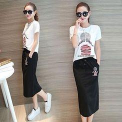 FR - Set: Printed Short-Sleeve T-Shirt + Skirt