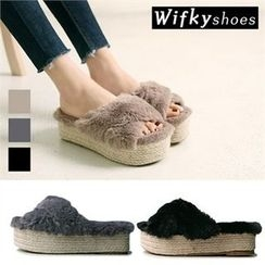 Wifky - Faux-Fur Espadrille Mules