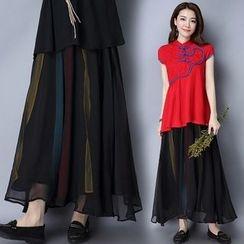 Diosa - 刺繡雪紡裙