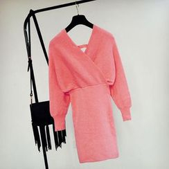 Cotton Candy - Dolman Sleeve V-Neck Knit Dress