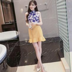 Louise - Set: Floral Print High Neck Tank Top + Ruffle Hem Mini Skirt