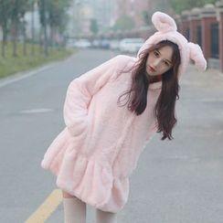 Cotton Candy - Rabbit Ear Faux Fur Coat