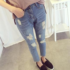 Eva Fashion - Distressed Ankle-Length Skinny Jeans