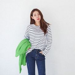 Seoul Fashion - Boat-Neck Long-Sleeve Stripe T-Shirt