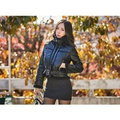 UUZONE - Fleeced-Line Faux-Leather Jacket