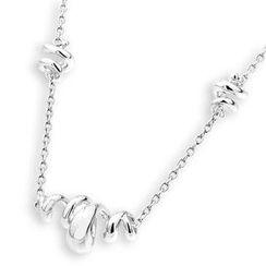 Bling Bling - Bling Bling Platinum Plated 925 Silver Polished Spiral Bracelet (16')