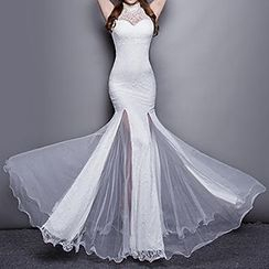 Posh Bride - Sleeveless Mermaid Lace Sheath Evening Gown