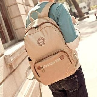 K-Style - Leather-Trim Canvas Backpack