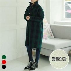 PINKSISLY - Fleece-Lined Gingham Long Shirt