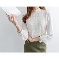 PEPER - Mock-Neck Chiffon Blouse