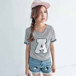 BAIMOMO - Short-Sleeve Lettering Striped T-Shirt