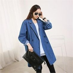 PIPPIN - Double-Breasted Denim Long Jacket