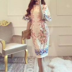 Cotton Candy - Floral Elbow Bell Sleeve Midi Dress