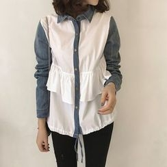 Little V - Long-Sleeve Ruffle Trim Panel Shirt