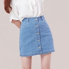 Nimill - Button Down Striped A-Line Denim Skirt