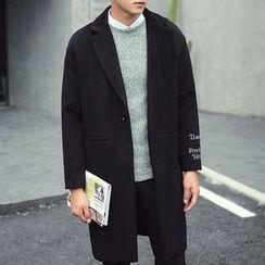 Zeesebon - Letter Embroidered Woolen Coat