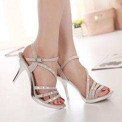 Monde - Rhinestone Strappy Stiletto Sandals