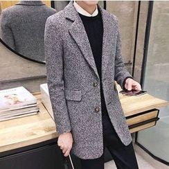 Zeesebon - Notch Lapel Long Woolen Coat