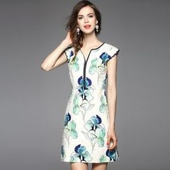 Y:Q - Floral Print V-Neck Cap Sleeve Dress