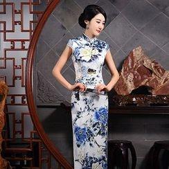 Montebelle - Floral Print Cap-Sleeve Maxi Cheongsam