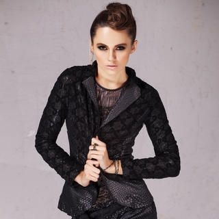 BLISS Fashion - Patterned-Panel Lace Blazer
