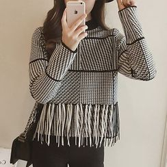 Ashlee - Fringed Houndstooth Knit Top