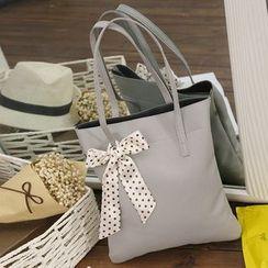 Diamante - 一套兩件: 飾蝴蝶結購物袋 + 斜挎包