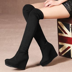 ZOHOUR - Wedged Over-the-Knee Boots