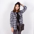 miss panda - Pocket-Front Plaid Shirt