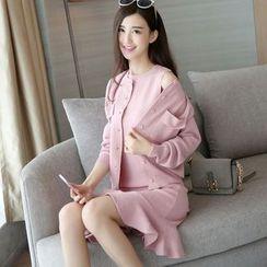 小沫商城 - 套裝: 開衫 + 抹胸針織連衣裙