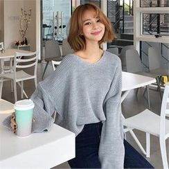 QNIGIRLS - V-Neck Rib-Knit Sweater