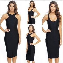 Hotprint - Sleeveless Midi Bodycon Dress
