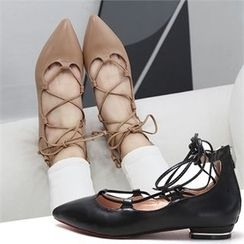 Reneve - Pointy-Toe Lace-Up Ghillie Flats