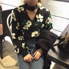 Alfie - Halter V-Neck Floral Loose-Fit Chiffon Top
