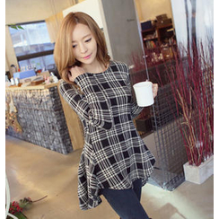 REDOPIN - A-Line Dip-Back Plaid Tunic