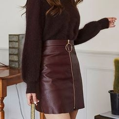 chuu - Zip-Up Faux-Leather Mini Skirt