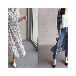 MASoeur - Drawstring-Waist Floral Print Shirtdress