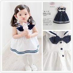 Cuckoo - Kids Bow Accent Sailor Collar Sleeveless Dress