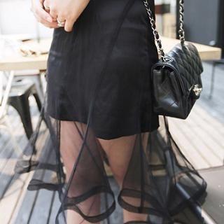 Fiinal - Inset Miniskirt Ruffle Mesh Skirt