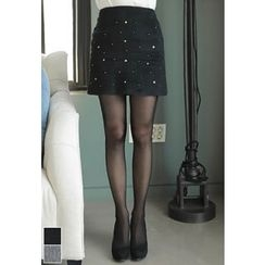 MyFiona - Beaded Wool Blend Mini Skirt