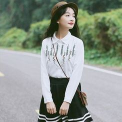 trendedge - Embroidered Long-Sleeve Blouse