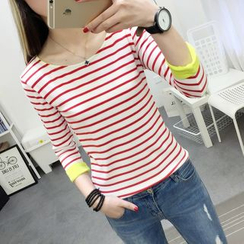 XGZ - 3/4-Sleeve Striped T-Shirt
