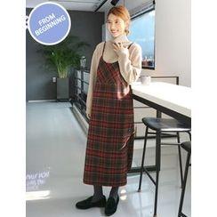 FROMBEGINNING - Check Maxi Pinafore Dress