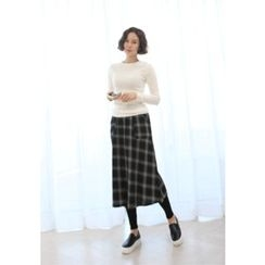 Lemite - Inset Check Long Skirt Leggings