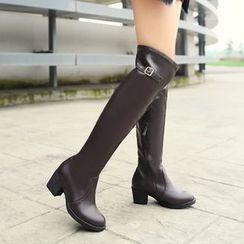 Pastel Pairs - Block Heel Over The Knee Boots