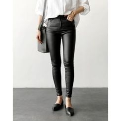 UPTOWNHOLIC - Flat-Front Skinny Pants