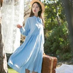 Sens Collection - Tie Neck Plain Long Sleeve Dress