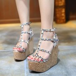 Anran - Studded Wedge Sandals